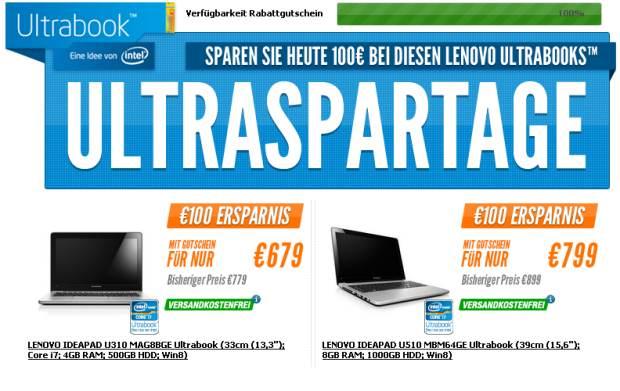 Lenovo Ultrabooks ab 10 Uhr um 100,- € günstiger
